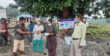 प्राकृतिक स्रोत द्वन्द्व रुपान्तरण नेपालद्वारा मास्क अभियान तथा वितरण